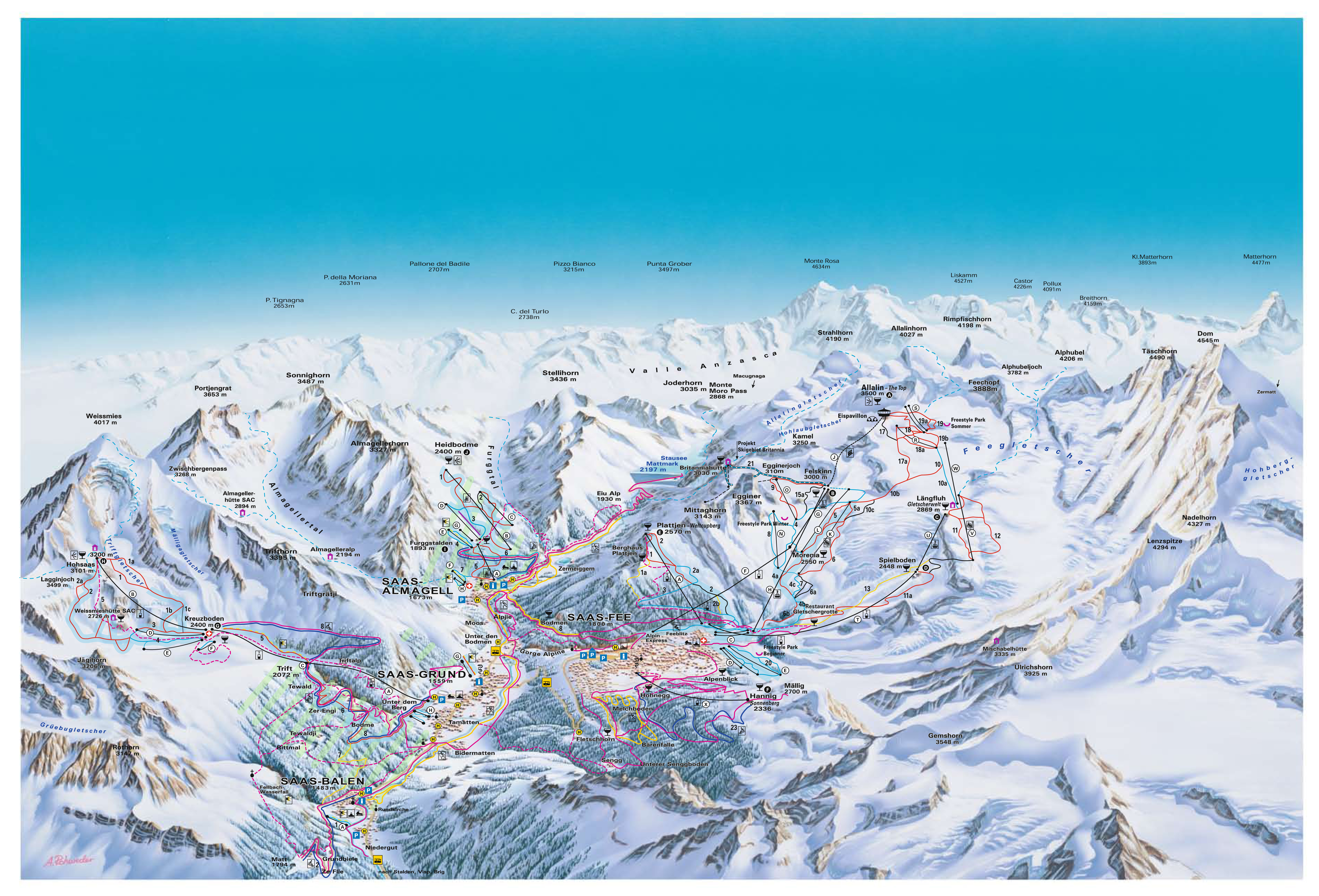 Saas-fee Piste Map
