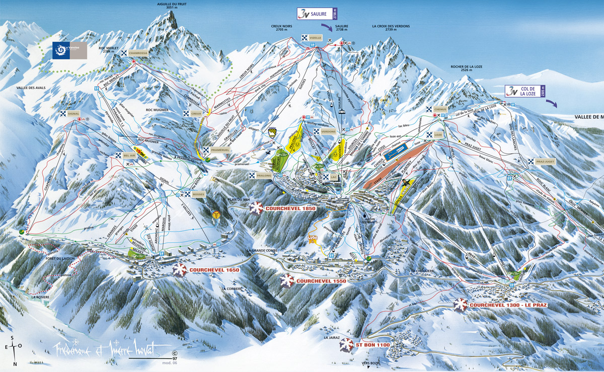 Courchevel piste maps and ski resort map powderbeds for Piste de ski interieur
