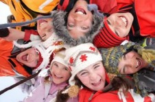 Children in Sainte Foy learning to ski