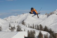 Skiier in the park at Serre Chevalier
