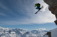 Cliff drop in Tignes