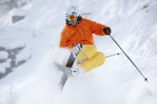 A skier making the most of the powder in Beaver Creek