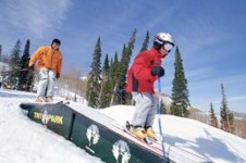 Despite the snowboarding ban at Deer Valley ski resort there is still a chance to practice your skills in the TNT Park