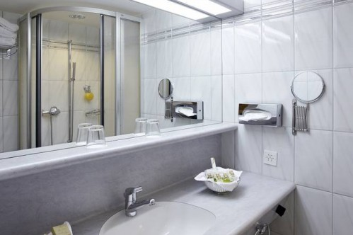 An example of a bathroom, at the ArabellaSheraton Hotel Seehof