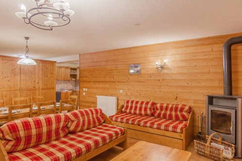 Les Balcons de la Rosiere - living area with log burning stove