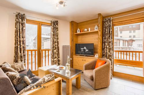 Stylish modern T2 one-bedroom apartment Residence Santa Terra Tignes Les Brevieres living room