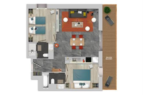 Chalets Izia 2 bed apartment floor plan; Copyright: Village Montana