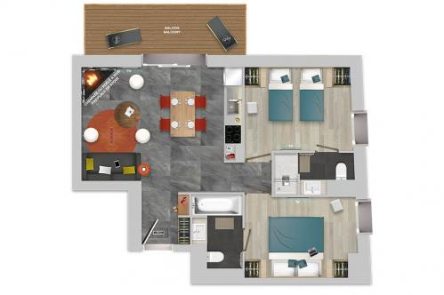 Chalets Izia 2 bed with fireplace apartment floor plan; Copyright: Village Montana