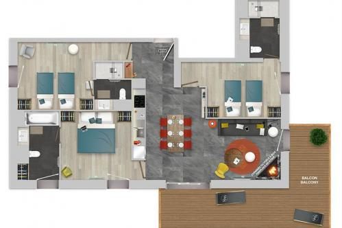 Chalets Izia 3 bed with fireplace apartment floor plan; Copyright: Village Montana
