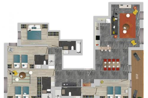 Chalets Izia 4 bed apartment floor plan; Copyright: Village Montana