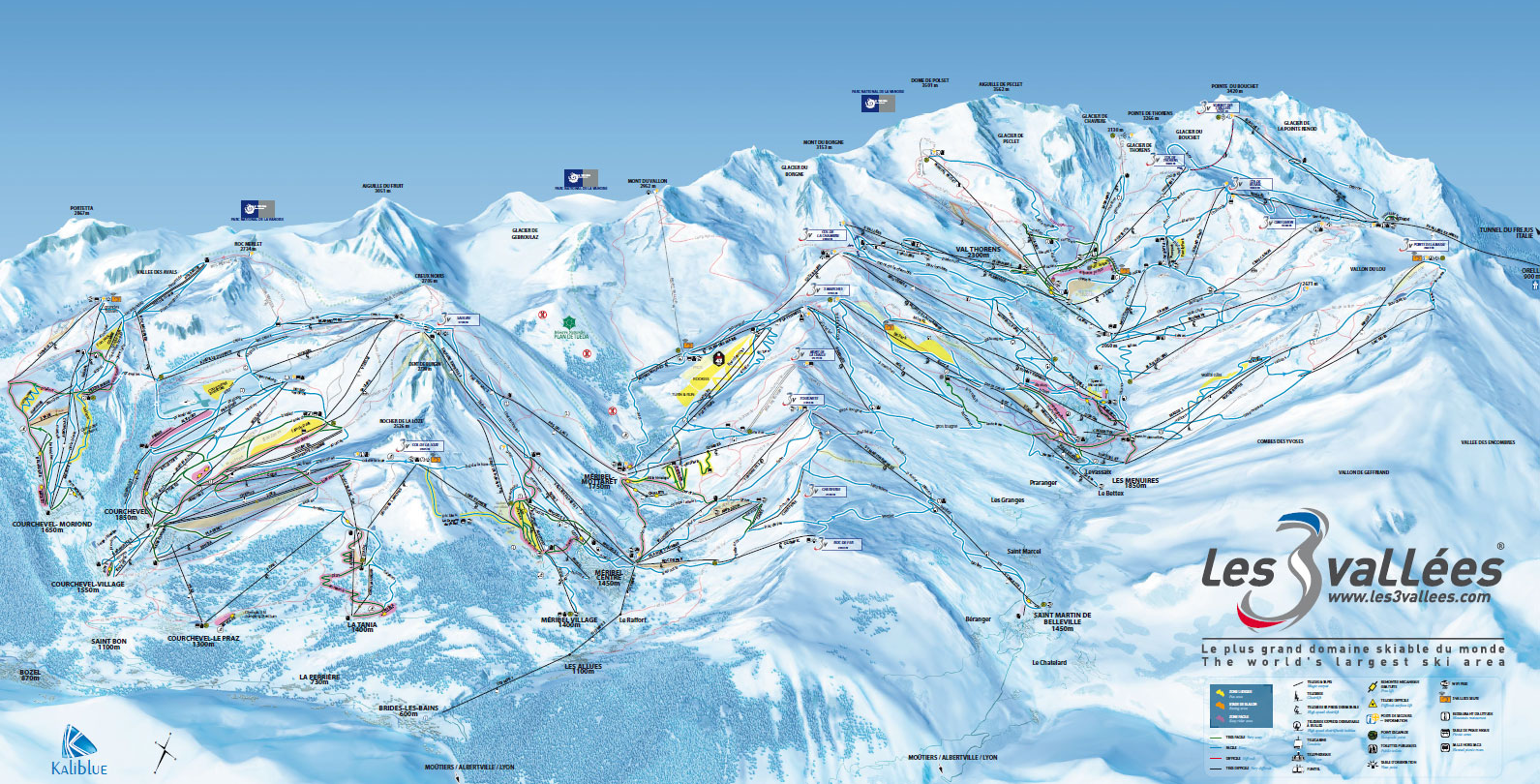 3 vallees green and blue run piste map