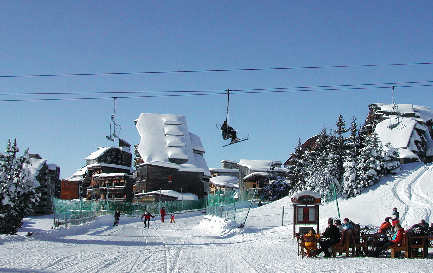 Avoriaz centre with chair lift passing over pedestrianised road