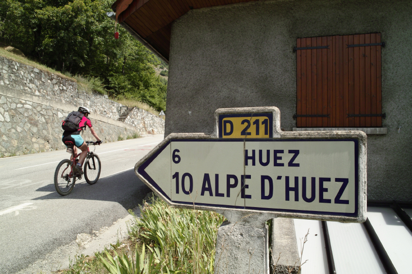 Alpe d'Huez road sign Tour de France