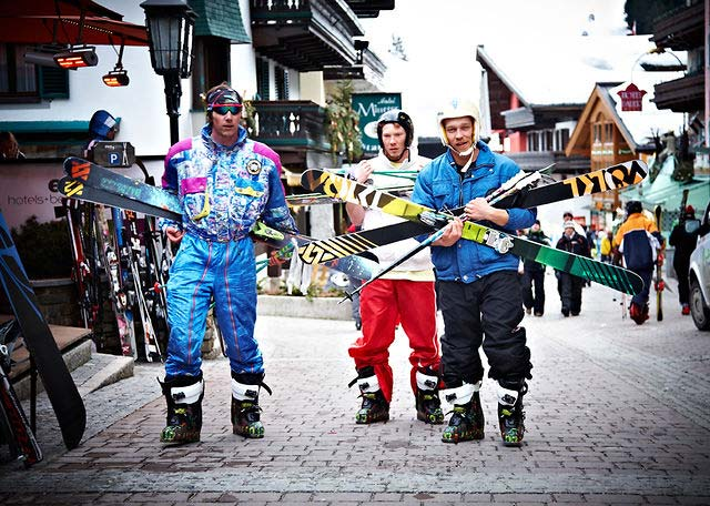 Skiers in Alpine Village