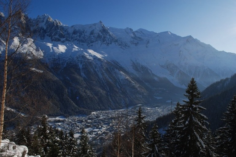 snowy valley in Chamonix