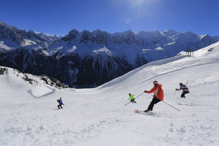 Ski slope in Chamonix with skiers