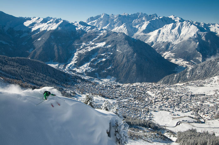Extreme skiing in the exclusive resort of Verbier