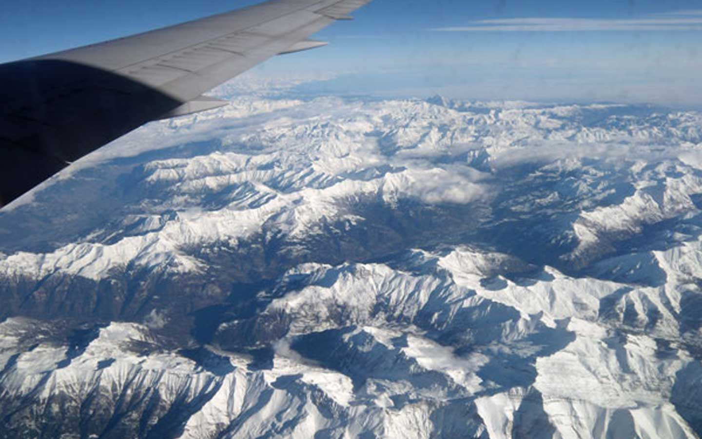 View of Alps from plane window