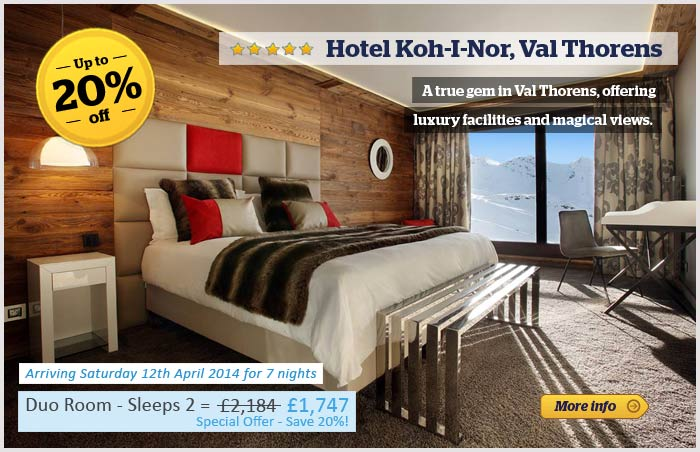 Hotel Koh-I Nor with 20% off promotion banner