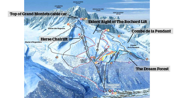 Les Grands Montets piste map