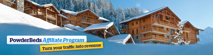 PowderBeds' Affiliate Program banner with snowy chalet scene