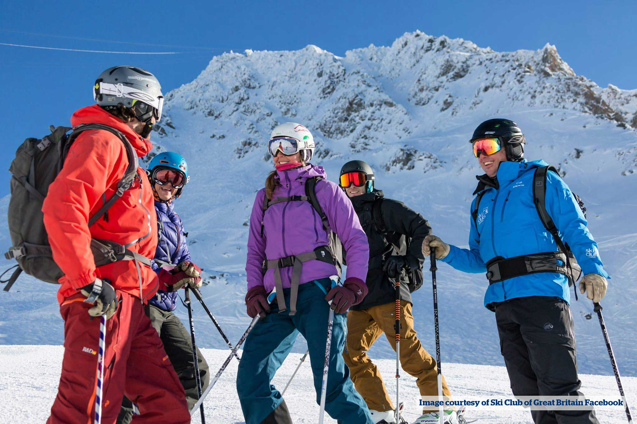 Skiers taking a break on the Slopes