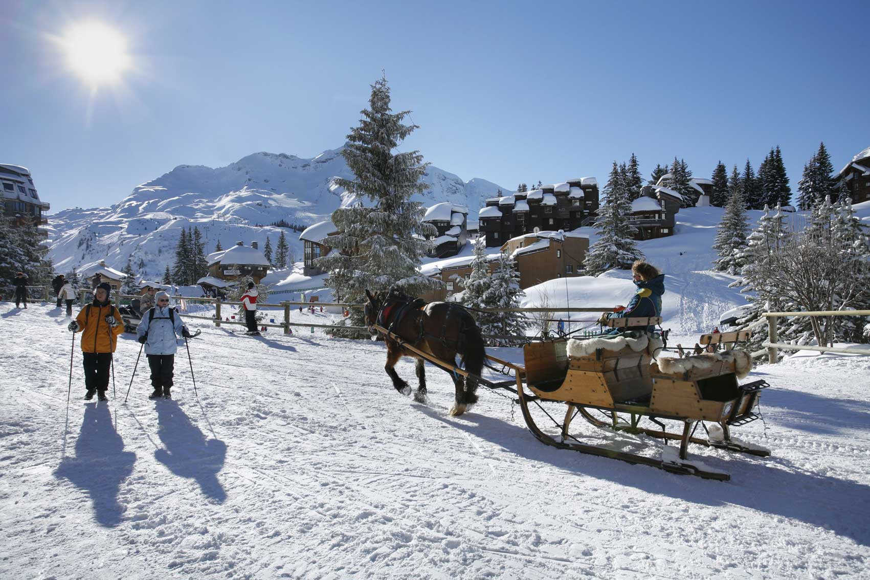 Horse and Sleigh in pedestrianised Avoriaz