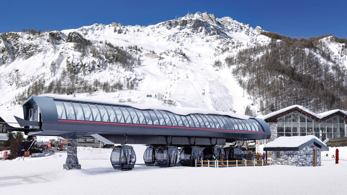 New 10 person gondola in the Solaise area in Val d'Isere
