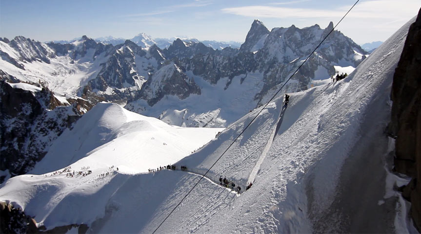The Arête connecting the Aiguille du Midi and the Vallée Blanche