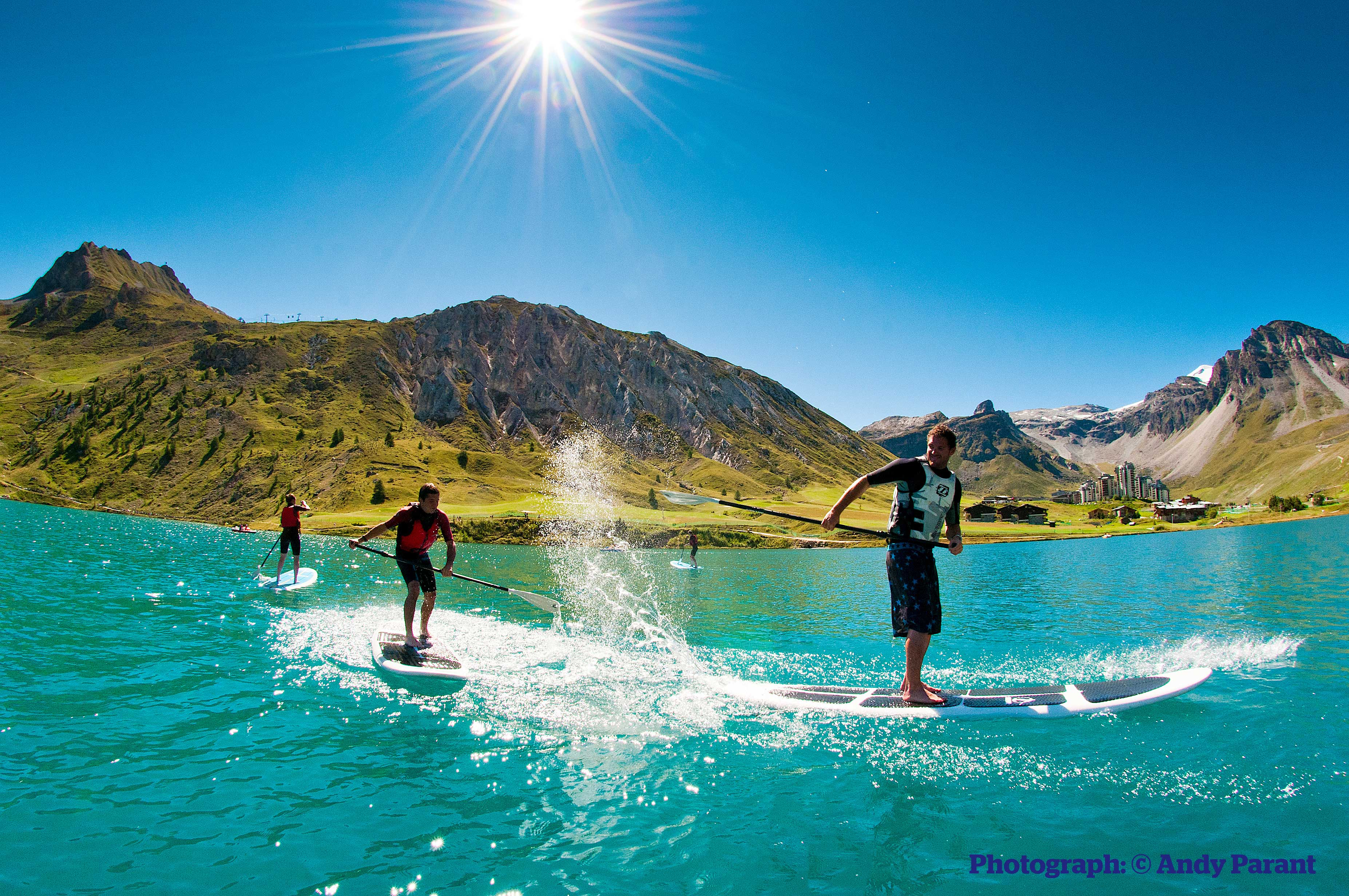 SUP boarding in Tignes, France
