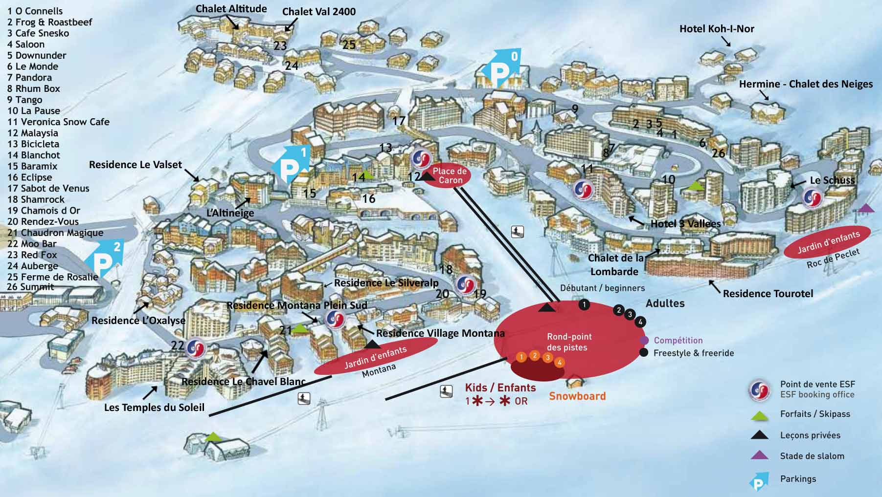 Val Thorens Apres map