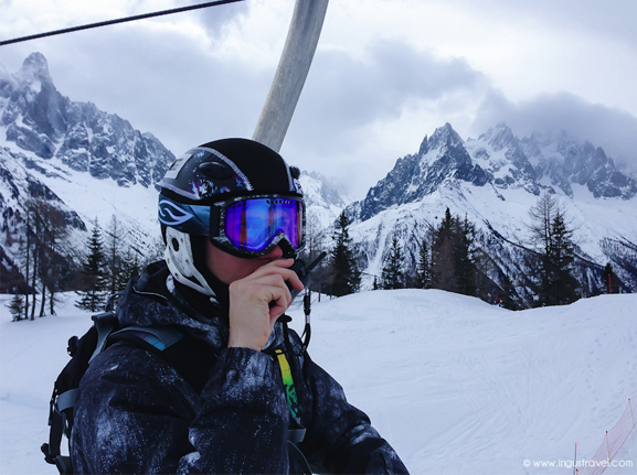 Skier with Walkie Talkie