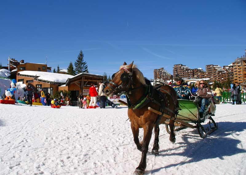 Horse drawn sleigh in Avoriaz
