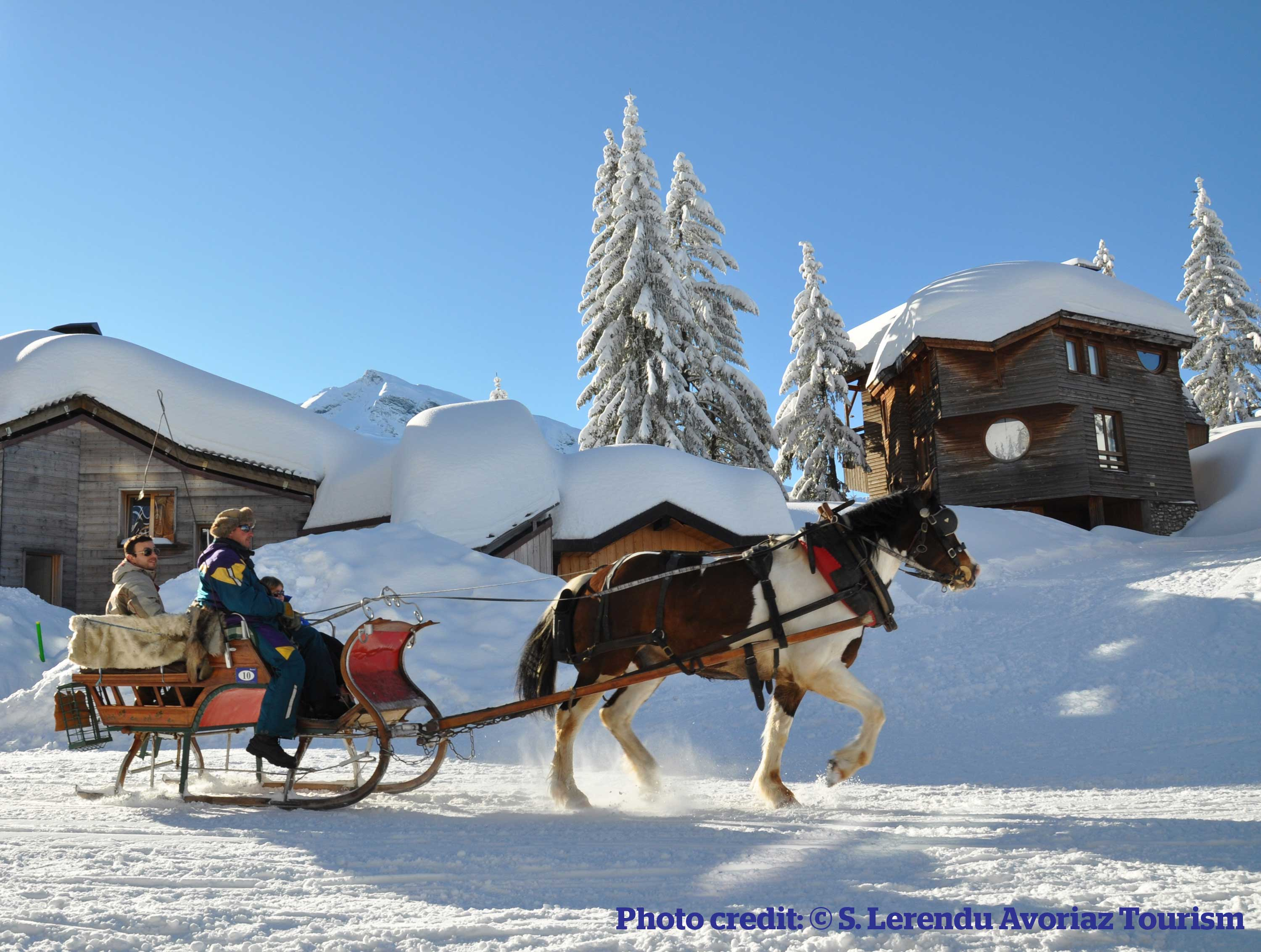 Horse drawn carriage taxi in Avoriaz