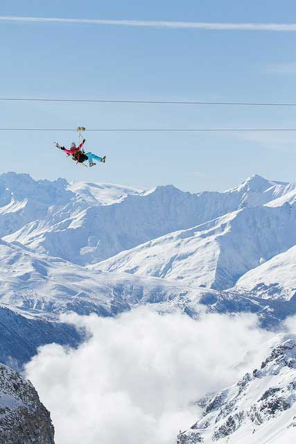 Val Thorens zipline across the mountains